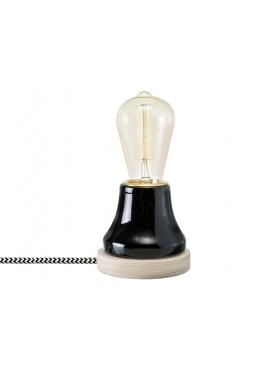 Lampka Lumica: Czarna Ceramika i Drewno