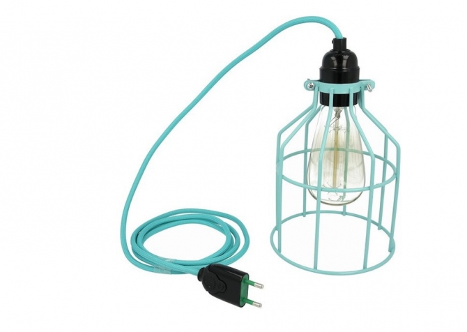 Lampa z klatką turkusową