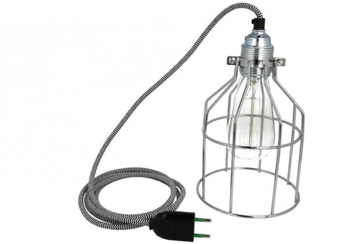 Lampa z klatką chromowaną