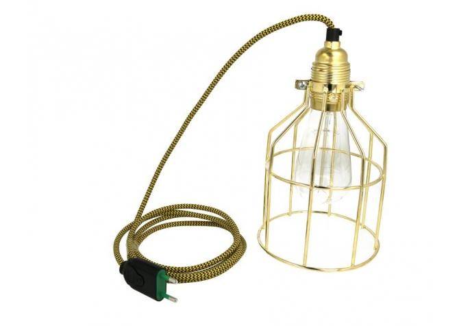 Lampa z klatką złotą