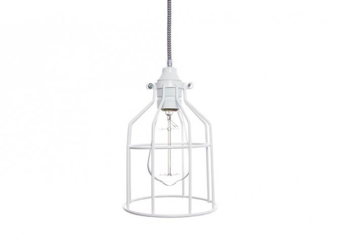 Lampa z klatką śnieżnobiałą