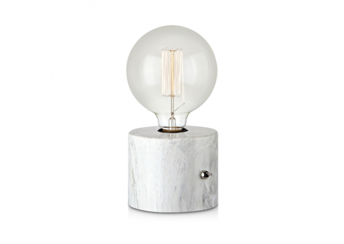 Round White Table Lamp